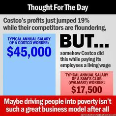 Costco's Profit Soars To $459 Million As Low-Wage Competitors Struggle   http://www.huffingtonpost.com/2013/05/30/costco-profits_n_3359033.html?utm_hp_ref=business