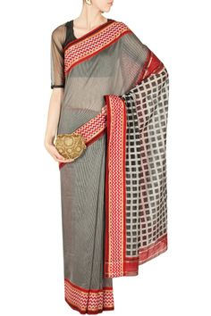 Black checks and stripes sari by RAJESH PRATAP SINGH. Shop now at perniaspopupshop.com #perniaspopupshop #clothes #womensfashion #love #indiandesigner #rejeshpratapsingh #happyshopping #sexy #chic #fabulous #PerniasPopUpShop