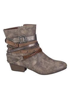 halo strappy bootie in gray (original price, $49) available at #Maurices