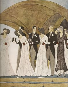 """French Art Deco Wedding (1930)    From """"Harper's Bazaar"""" by Andre Edouard Marty."""