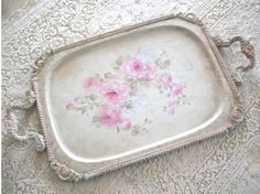 Hand painted roses vintage tray - shabby chic