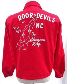 Vintage 1960s Jacket Motorcycle MC Door Devils Sturgeon Bay WI Dan River Fabric