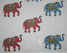New Multi Color Elephant Different Style Hand Block Printed 10 Yard Cotton Fab #Unbranded