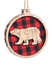 Modern Cabin Bear Plaid Wooden Disc Ornament