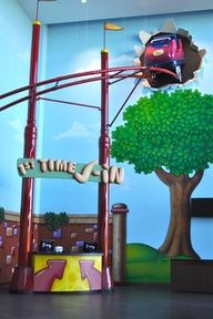 vbs roller coaster ideas | like that this roller coaster is exploding through the wall! Cool!