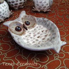 Wide Eye Owl Spoon Rest or Ceramic Soap Dish in Warm Taupe Brown Cream | TexasCeramics - Housewares on ArtFire