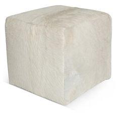 """Cube 18"""" Pouf, White Hide"""