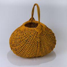 Vintage Artist Made Large Pumpkin Orange Appalachian Harvest Basket