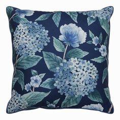 Mirror Headboard, Cushion Headboard, Floral Cushions, Blue Cushions, Madras Link, Blue Tapestry, Dark Blue Background, Blue Hydrangea, Dark Navy Blue