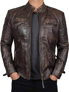 online shopping for Distressed Brown Leather Jacket Men - Genuine Lambskin Mens Leather Jackets from top store. See new offer for Distressed Brown Leather Jacket Men - Genuine Lambskin Mens Leather Jackets Brown Leather Jacket Men, Mens Leather Coats, Distressed Leather Jacket, Leather Jackets Online, Lambskin Leather Jacket, Biker Leather, Black Leather, Mode Man, Winter Outfits Men