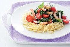 Kijk wat een lekker recept ik heb gevonden op Allerhande! Spaghettini met garnalen en spinazie