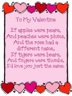 Valentine Poems | february poem for you along with word cards for rebuilding the poem ...