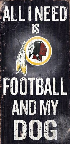 Washington Redskins Sign Wood 6x12 Football and Dog Design