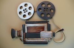 METAL MOVIE THEATER WALL ART CAMERA AND REELS  HOME THEATRE DECOR RETRO