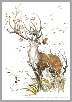 "Original painting by Luqman Reza Mulyono (Jongkie) entitled ""Beautiful Mind"" Animal Paintings, Animal Drawings, Art Drawings, Fantasy Creatures, Mythical Creatures, Marker Kunst, Creation Art, Deer Art, Wildlife Art"