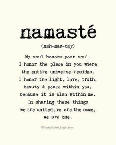 Namaste. Maybe a different word, but I like the idea