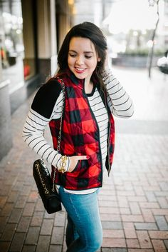 A pair of denim that is both budget-friendly and a great fit? Yes please! Love this red quilted plaid vest — can't wait to try this look myself!
