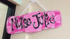My new bandaid door hanger! Nurse Office Decor, School Nurse Office, Nurse Decor, School Nursing, Nurse Crafts, Nursing Accessories, Burlap Door Hangers, Diy Cutting Board, Wood Cutouts