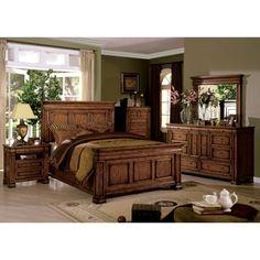 Shop For Furniture Of America Claresse Traditional 4 Piece Tobacco Oak  Panel Bedroom Set.