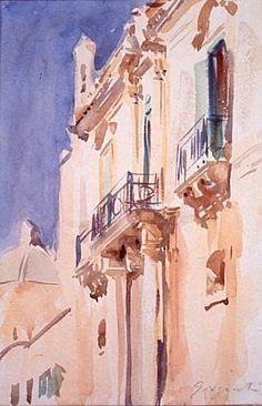 American Artist, John Singer Sargent, Facade of a Palazzo, Girgenti, Sicily