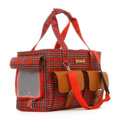 Pet Carrier Bag For Dog And Cat Travel Carriers Dog Backpack Carrying Bag Red British Plaid