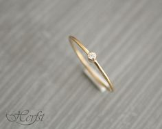 14 k solid gold diamantring verlovingsring, trouwring, de ring van de diamant, Handmade