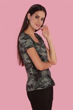 b374ab4450537 Cep Detaylı Kısa Kollu T Shirt Koyu Kamuflaj | ifondi