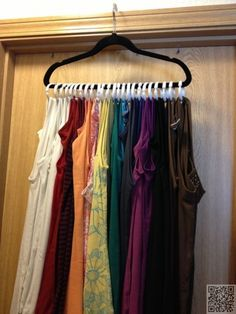 24. Tank tops on one hanger - #DollarStoreSolutions