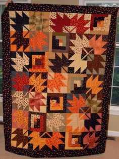 Maple Leaf and Log Cabin Quilt
