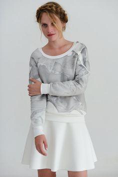 Grey sweatshirt, white silver and grey designer sweatshirt, metallic arctic handmade patchwork pullover jumper