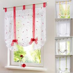 1Sheer Tab Top Sheer Kitchen Balcony Window Curtain Voile Liftable Roman Blinds
