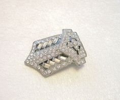 Vintage Rhinestone Art Deco Dress Clip Crystal by VintageStreet