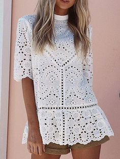Band Collar Decorative Lace Back Hole Hollow Out Plain Shirts&Blouses Women's Fashion from Fashionme. 10% off first order #TrendingFashion #boho #stylish #10%off #glamour #lacedress #dress #shirt #blouse