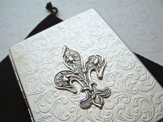 Retro Cigarette Case Fleur De Lis Art Nouveau by CosmicFirefly, $48.00