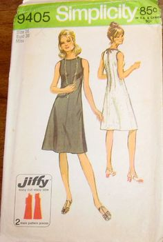 Simplicity 9405 Jiffy Basic Sleeveless Fitted Shift Dress Womens Misses Easy…