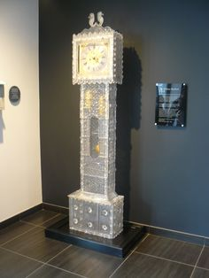 The crystal grandfather clock at the Waterford Crystal factory in Ireland.
