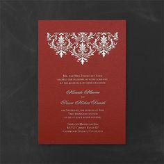 Tapestry - Invitation - Claret Shimmer. Available at Persnickety Invitation Studio.