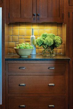 Craftsman kitchen with Motawi tile backsplash and cabinets from Crown Point Cabinetry - Arts & Crafts Homes and the Revival