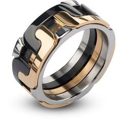 Steel Art Men's Stainless Steel IP Gold and Black Interlock Polished Ring, Multicolor