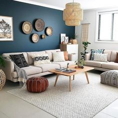 Grey Small Living Room Apartment Designs - Bohemian Home Living Room Home Living Room, Interior Design Living Room, Living Room Designs, Living Room Decor, Moroccan Decor Living Room, Kitchen Interior, Moroccan Interiors, Home Interior, Living Room Accent Wall