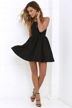 Chic Freely Black Backless Skater Dress at Lulus.com!