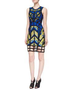 Sleeveless Cage Bandage Dress, Blue/Yellow