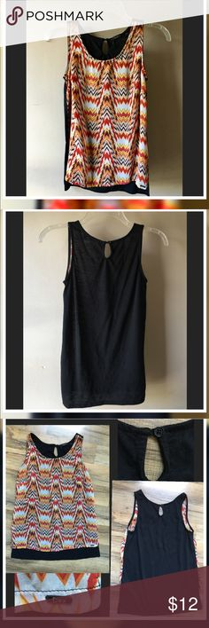"""Dex  Sleeveless Blouse EUC Dex Sleeveless Blouse Size-S Excellent Condition Keyhole closure on back with single button Hi- lo * back approx 3"""" longer ..  Semi sheer front colorful front/ solid black back.. Front 100% Polyester/Back 100% Rayon..Measurements are approx: Armpit to armpit-16""""    Length shoulder bottom ( front)-21""""       (back)length-24"""" Dex Tops"""