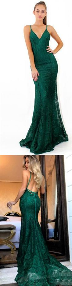 2018 Green Full Lace Sexy Prom Dress, Formal Modest Prom Dress For Party, Evening Dresses, PD0301