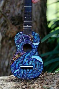 Hand Painted Ukulele Guitar Art Turtle Design from Salty Hippy in Australia Ukulele Art, Ukulele Songs, Ukulele Chords, Guitar Art, Cool Guitar, Ukulele Drawing, Luna Ukulele, Arte Sharpie, Painted Ukulele