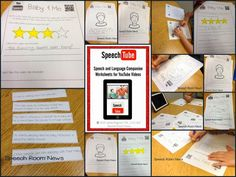 Speech Room News: Speech Tube: You Tube Companion Worksheets for Speech and Language $
