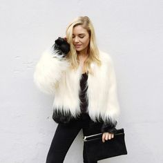 Keep It Faux ASOS stylist Isabella Thordsen embraces her black-and-white wardrobe with fervor. By contrasting textures and materials, she makes her outfits pop — even without the flagrant use of color. Minimalists take note. Isabella Thordsen, White Wardrobe, All Black Outfit, Cool Costumes, Holiday Outfits, Winter Wear, What To Wear, Winter Fashion, Street Wear
