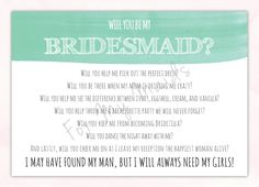 Will You Be My Bridesmaid Card Bridesmaid by ForTheMaids on Etsy