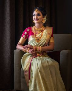 Exclusive Saree Blouse designs for every South Indian Bride!- Eventila Exclusive Saree Blouse designs for every South Indian Bride! Bridal Sarees South Indian, South Indian Bridal Jewellery, Bridal Silk Saree, Indian Bridal Wear, Bride Indian, South Indian Bride Hairstyle, South Indian Weddings, Silk Sarees, Indian Bride Poses