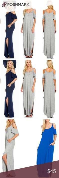 New Arrival • Cold shoulder Maxi Dress I love the flattering style of this side slit cold shoulder maxi dress . Nwot rayon and spandex blend . True to size . Perfect maxi dress with flutter sleeve open shoulder . Please use Poshmark feature to buy now and select size or add to Bundle for a discount . Only available in Heather gray . Vivacouture Dresses Maxi